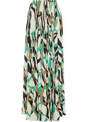 Roberto Cavalli Woman Pleated Printed Stretch-crepe Maxi Skirt Ecru