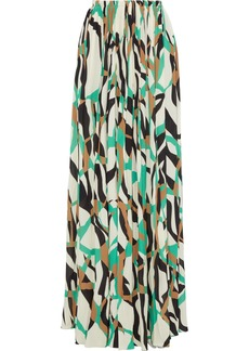 Roberto Cavalli Woman Pleated Printed Stretch-crepe Maxi Skirt Ecru