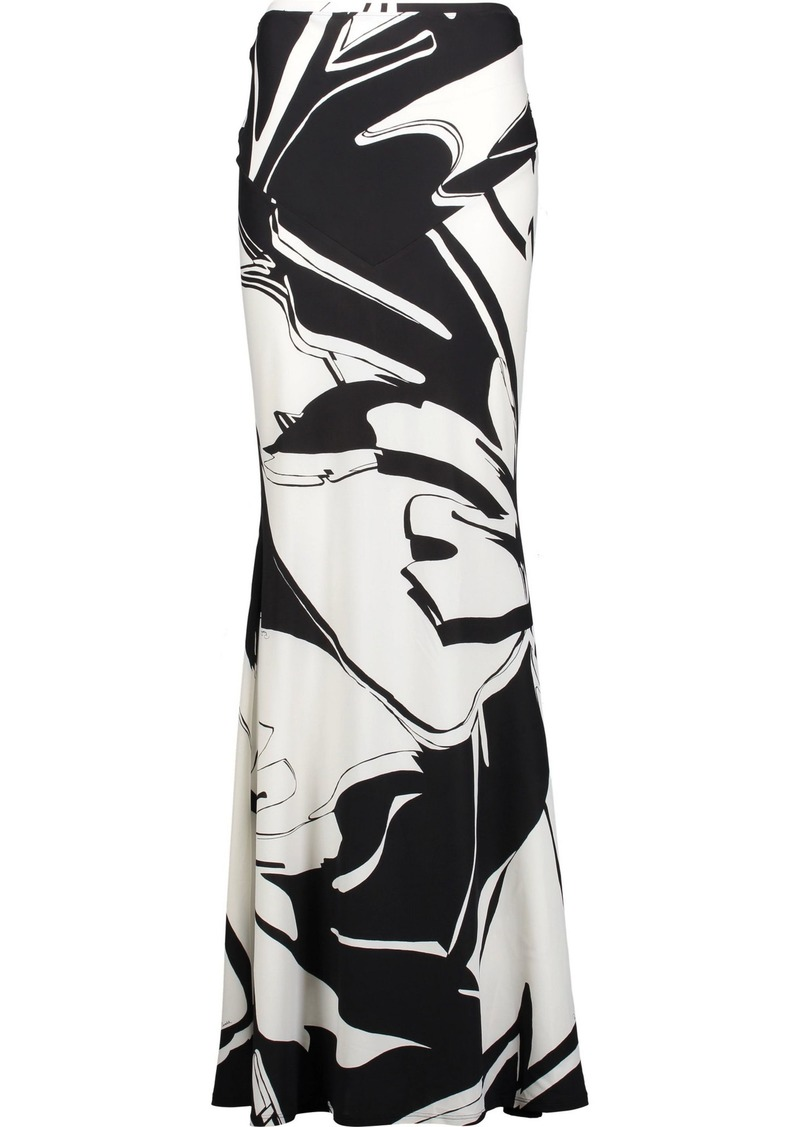 Roberto Cavalli Woman Pleated Printed Stretch-jersey Maxi Skirt Black