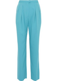 Roberto Cavalli Woman Pleated Wool-blend Straight-leg Pants Turquoise