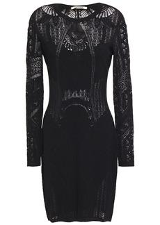 Roberto Cavalli Woman Pointelle-knit Mini Dress Black