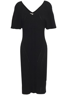 Roberto Cavalli Woman Pointelle-trimmed Ribbed-knit Dress Black