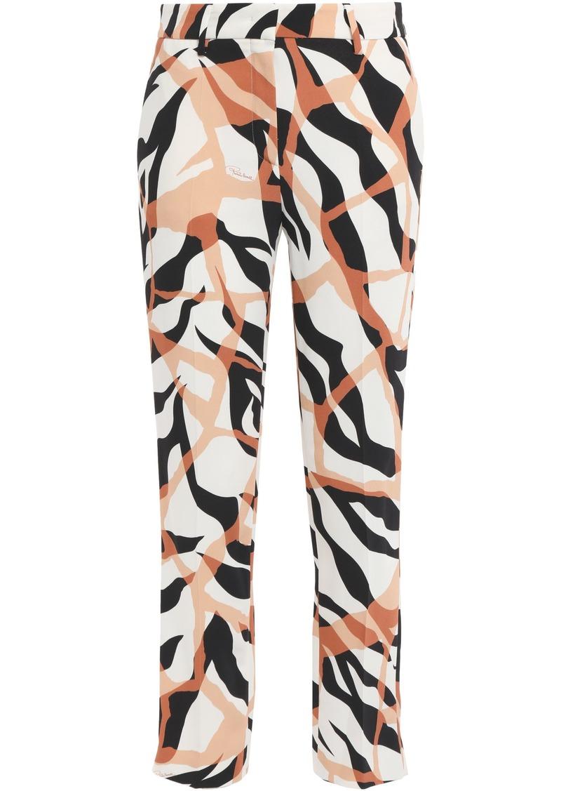 Roberto Cavalli Woman Printed Cady Straight-leg Pants Ivory