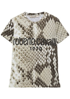 Roberto Cavalli Woman Printed Cotton-jersey T-shirt Sage Green