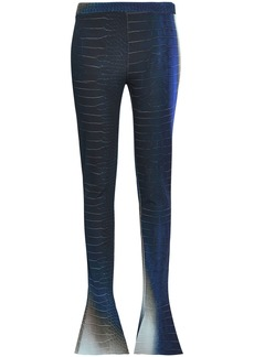 Roberto Cavalli Woman Printed Jersey Flared Pants Navy