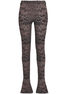 Roberto Cavalli Woman Printed Jersey Flared Pants Chocolate