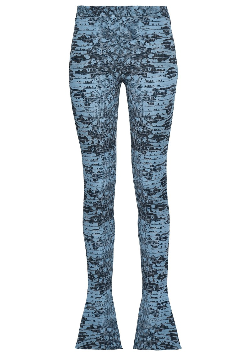 Roberto Cavalli Woman Printed Jersey Flared Pants Storm Blue