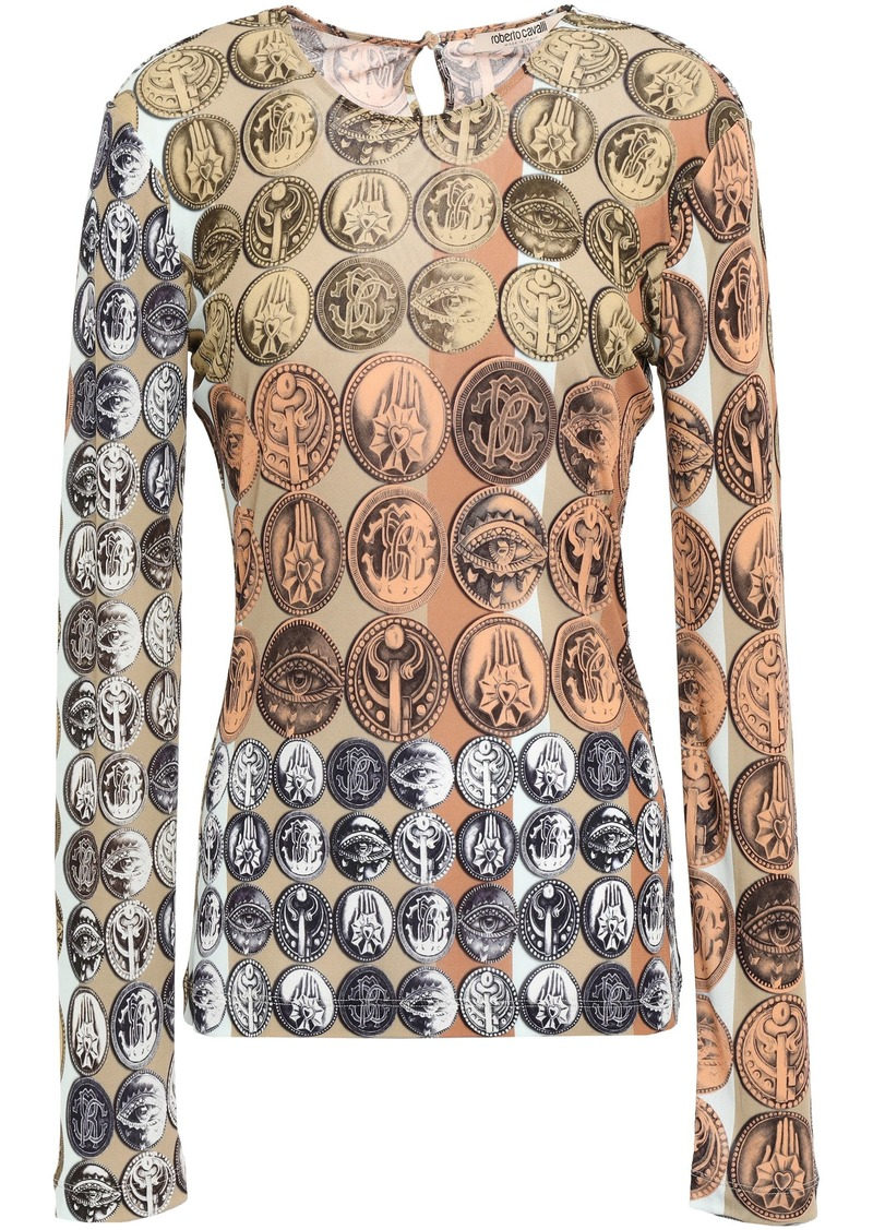 Roberto Cavalli Woman Printed Jersey Top Orange