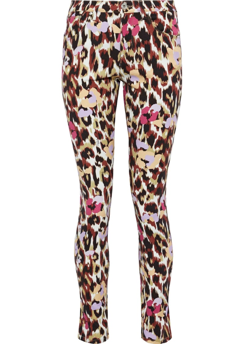 Roberto Cavalli Woman Printed Low-rise Skinny Jeans Animal Print
