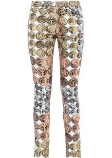 Roberto Cavalli Woman Printed Mid-rise Skinny Jeans Multicolor