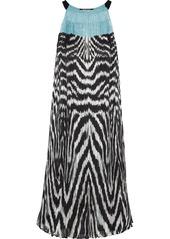 Roberto Cavalli Woman Printed Plissé Silk-chiffon Dress Turquoise