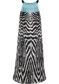 Roberto Cavalli Woman Printed Plissé Silk-chiffon Dress Turquoise