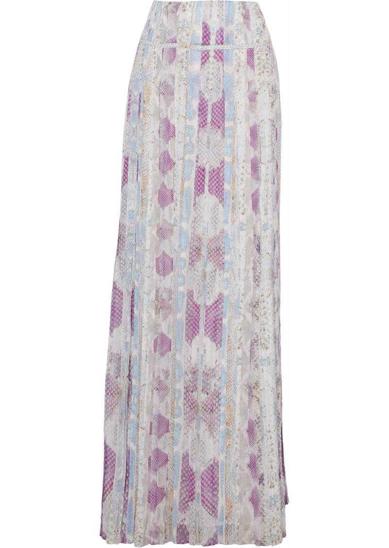 Roberto Cavalli Woman Printed Plissé Silk-chiffon Maxi Skirt Multicolor