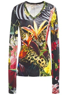 Roberto Cavalli Woman Printed Satin-jersey Top Black