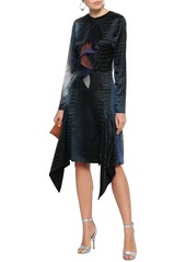 Roberto Cavalli Woman Printed Silk-chiffon And Satin Dress Black