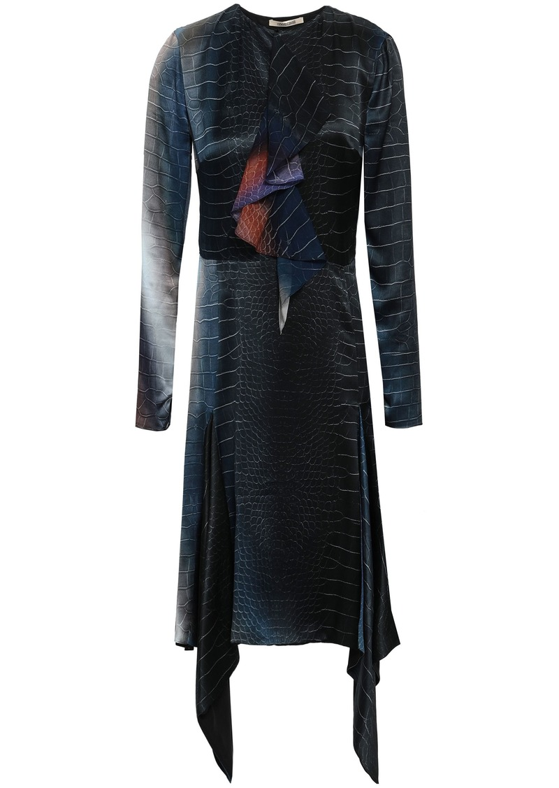 Roberto Cavalli Woman Printed Silk-chiffon And Satin Dress Black