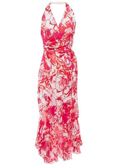 Roberto Cavalli Woman Printed Silk-chiffon Halterneck Wrap Dress Tomato Red