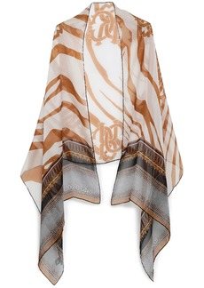 Roberto Cavalli Woman Printed Silk-chiffon Scarf Light Brown