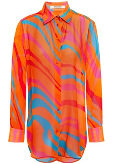 Roberto Cavalli Woman Printed Silk-chiffon Shirt Orange