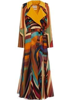 Roberto Cavalli Woman Printed Silk Crepe De Chine Trench Coat Saffron