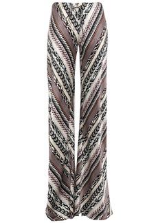 Roberto Cavalli Woman Printed Silk Crepe De Chine Wide-leg Pants Black