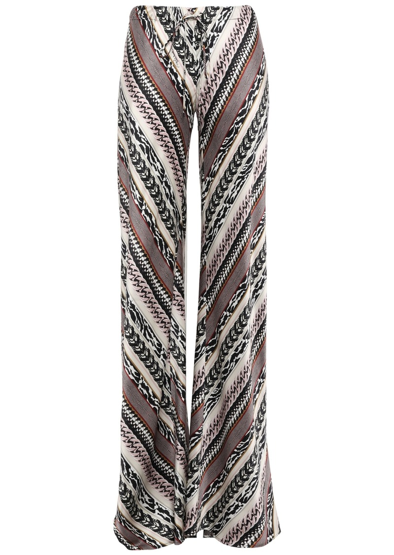 Roberto Cavalli Woman Printed Silk Crepe De Chine Wide-leg Pants Black