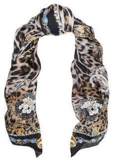 Roberto Cavalli Woman Printed Silk Scarf Black