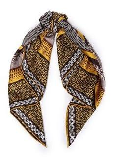 Roberto Cavalli Woman Printed Silk-twill Scarf Brown