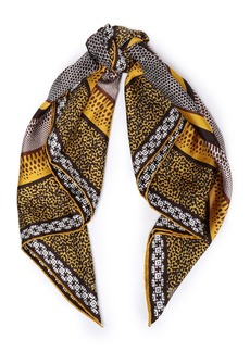 Roberto Cavalli Woman Printed Silk-twill Scarf Brown