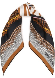 Roberto Cavalli Woman Printed Silk-twill Scarf Light Brown