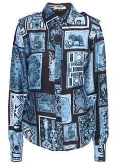 Roberto Cavalli Woman Printed Silk-twill And Jersey Shirt Light Blue