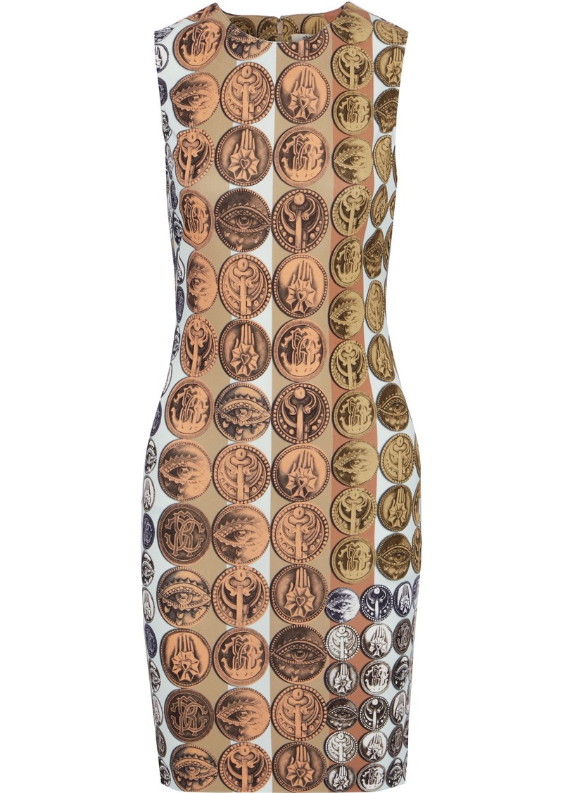 Roberto Cavalli Woman Printed Stretch-cady Mini Dress Beige
