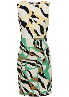 Roberto Cavalli Woman Printed Stretch-crepe Dress Off-white