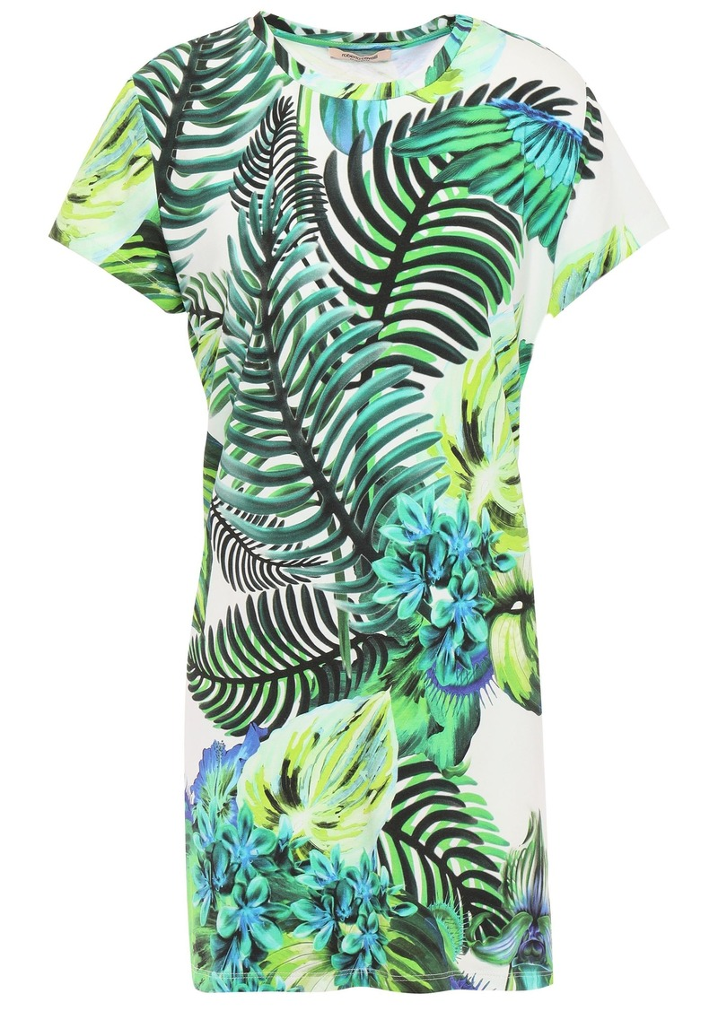 Roberto Cavalli Woman Printed Stretch-jersey Mini Dress Bright Green