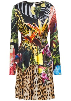 Roberto Cavalli Woman Printed Stretch-silk Satin Peplum Mini Dress Black