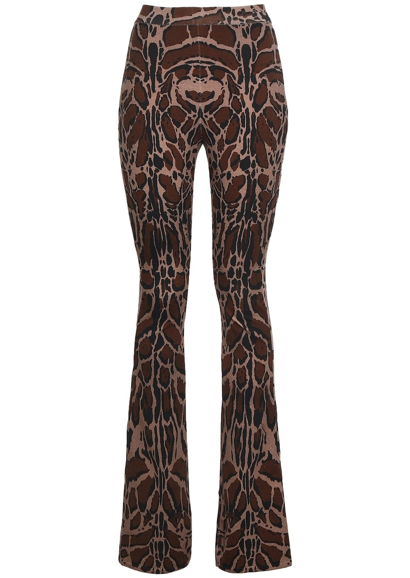 Roberto Cavalli Woman Printed Wool-blend Bootcut Pants Taupe