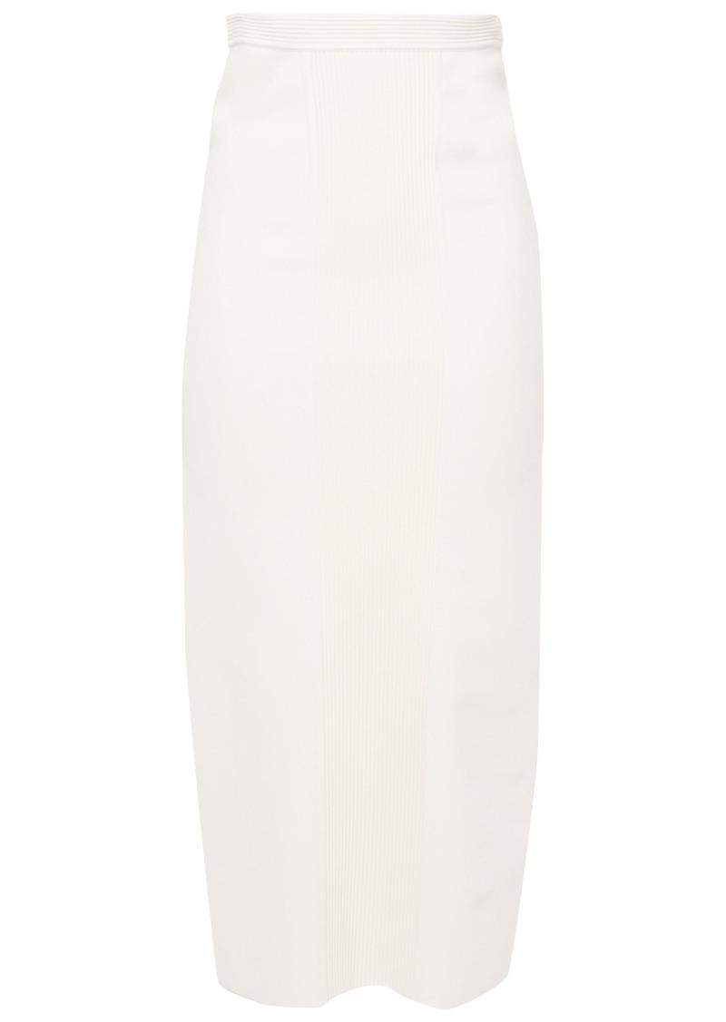 Roberto Cavalli Woman Ribbed And Stretch-knit Midi Skirt Ivory