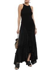 Roberto Cavalli Woman Ribbed-knit And Crepe De Chine Maxi Dress Black