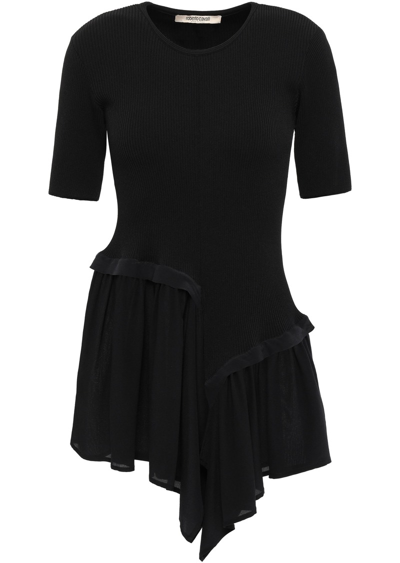 Roberto Cavalli Woman Ribbed-knit And Ruffled Crepe De Chine Top Black