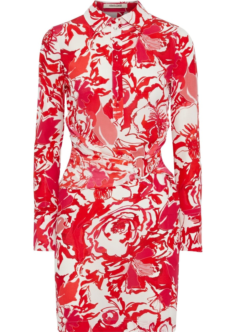 Roberto Cavalli Woman Ring-embellished Printed Silk Crepe De Chine Mini Shirt Dress Red