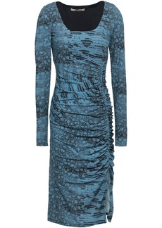 Roberto Cavalli Woman Ruched Animal-print Stretch-jersey Dress Blue