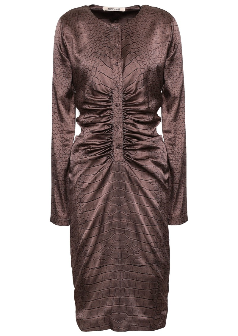Roberto Cavalli Woman Ruched Crocodile-print Stretch-silk Satin Dress Animal Print