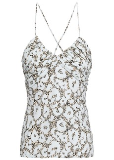 Roberto Cavalli Woman Ruched Leopard-print Stretch-jersey Camisole Animal Print