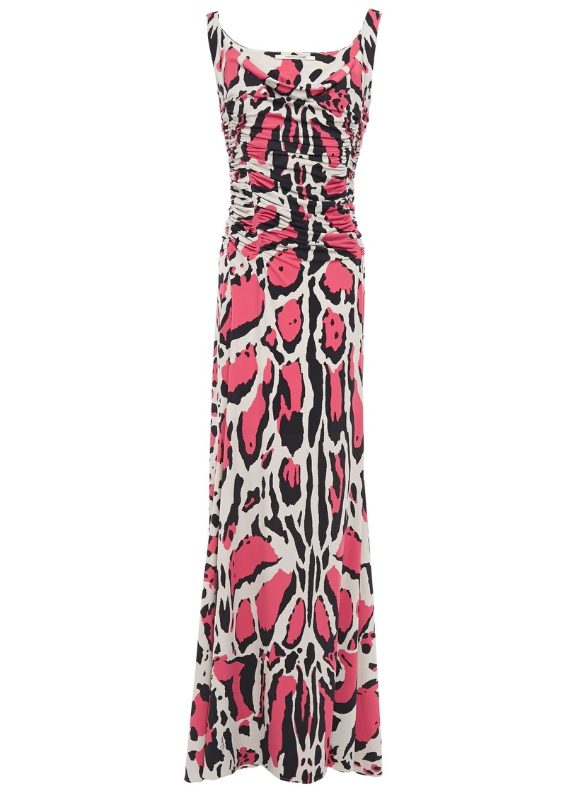 Roberto Cavalli Woman Ruched Leopard-print Stretch-jersey Maxi Dress Stone