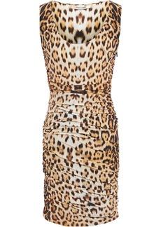 Roberto Cavalli Woman Ruched Leopard-print Stretch-jersey Mini Dress Animal Print