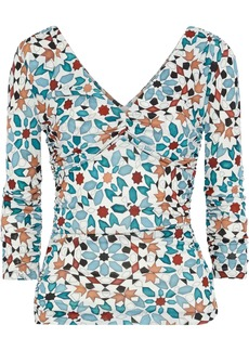 Roberto Cavalli Woman Ruched Printed Jersey Top Teal
