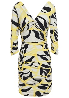 Roberto Cavalli Woman Ruched Printed Stretch-jersey Mini Dress Pastel Yellow