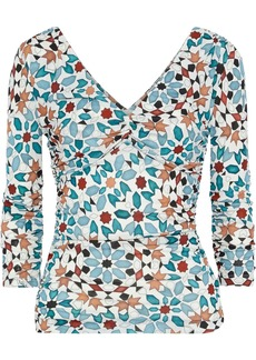 Roberto Cavalli Woman Ruched Printed Stretch-knit Top Teal