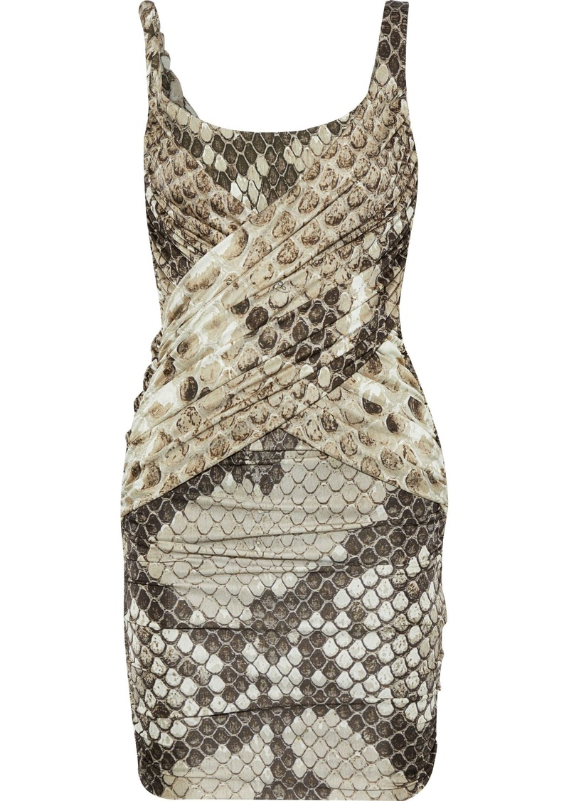 Roberto Cavalli Woman Ruched Snake-print Stretch-crepe And Satin-jersey Mini Dress Animal Print