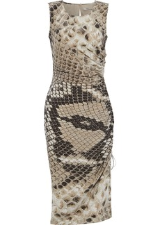 Roberto Cavalli Woman Ruched Snake-print Silk Crepe De Chine Dress Animal Print